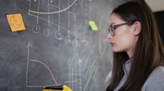 4K Woman with computer tablet drawing graphs & symbols on blackboard Stock Footage