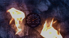 4k shoot of a creative composition with a thermometer on fire - stock footage