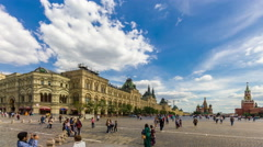 Moscow. Red Square. GUM (Main Department Store). Kremlin. Walking tourists. Stock Footage