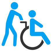 Disabled Person Transportation Flat Vector Icon - stock illustration