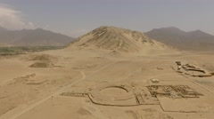 CARAL - Aerial of oldest urban center on the american continent (Peru, South Stock Footage