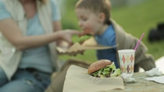 A family eating hamburgers on a picnic Stock Footage