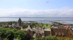 Elevated view of Townhouse and Culross Palace Culross Fife Scotland Stock Footage