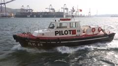 Pilot boat goes alongside the vessel Stock Footage