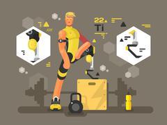 Sport prostheses design flat - stock illustration