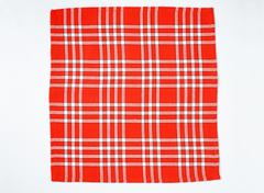 square checked red and white napkin - stock photo