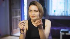 Beautiful girl in a beauty salon Stock Footage