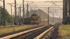 Cargo Train Pulls Stock Footage