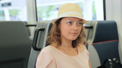 Young woman traveling by train in the Summer. Stock Footage
