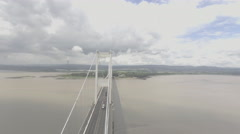 Aerial shot of Severn Bridge Stock Footage