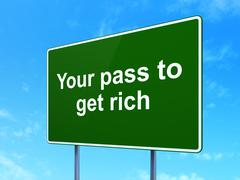 Finance concept: Your Pass to Get Rich on road sign background Piirros