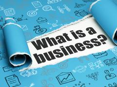 Business concept: black text What is a Business? under the piece of  torn paper - stock illustration