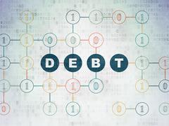 Finance concept: Debt on Digital Data Paper background - stock illustration