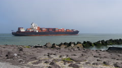 Container ship at sea, 4k shot. Stock Footage