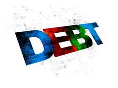 Finance concept: Debt on Digital background - stock illustration