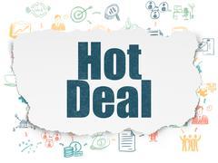 Business concept: Hot Deal on Torn Paper background Stock Illustration