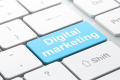 Marketing concept: Digital Marketing on computer keyboard background - stock illustration