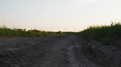 Walking forward between rural field on dirt road Stock Footage
