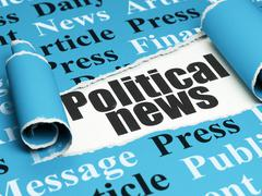 News concept: black text Political News under the piece of  torn paper - stock illustration