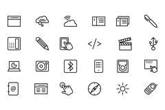 Communication Line Vector Icons Collection Stock Illustration