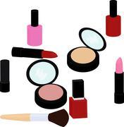 Beauty products set, lipstick, nail polish, powder, blush Stock Illustration