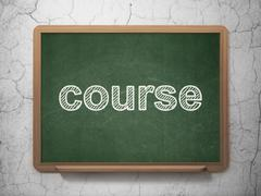 Education concept: Course on chalkboard background - stock illustration