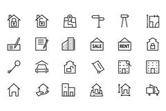 Real Estate Line Icons - stock illustration