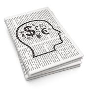Education concept: Head With Finance Symbol on Newspaper background - stock illustration