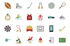 Sports and Games Colored Icons Set Piirros