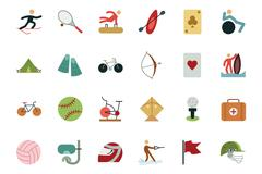 Sports and Games Colored Icons Collection Stock Illustration