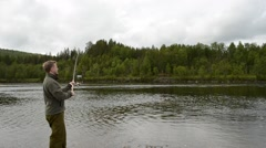 salmon fisherman casting out the lure - stock footage