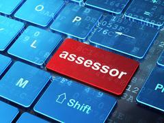 Insurance concept: Assessor on computer keyboard background - stock illustration