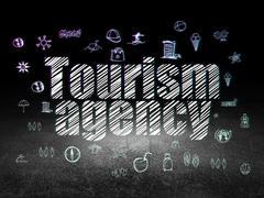 Travel concept: Tourism Agency in grunge dark room - stock illustration