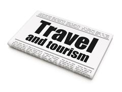Vacation concept: newspaper headline Travel And Tourism - stock illustration