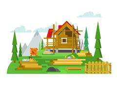 Cottage construction flat design Piirros