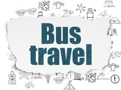 Tourism concept: Bus Travel on Torn Paper background - stock illustration