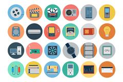 Electronics Flat Vector Icons Set Stock Illustration