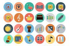 Multimedia Flat Icons Pack Stock Illustration