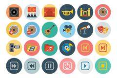 Multimedia Flat Icons Collection Stock Illustration