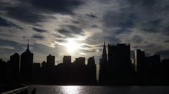 Sunset Time-Lapse of the Manhattanhenge directly across 42nd street Stock Footage