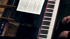 Pianist Plays Open Piano at Classical Music Concert - stock footage