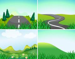Nature scenes with road and hills Piirros