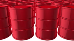 Looped animated background with red oil barrels. White background. - stock footage