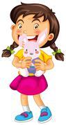 Little girl and rabbit doll Stock Illustration