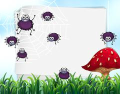 Paper design with spiders on web Stock Illustration