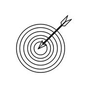 bullseye with arrow in the center , Vector illustration over white background - stock illustration