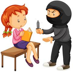Robber threatening woman with knife Stock Illustration