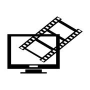 Computer monitor and film roll , Vector illustration over white background Stock Illustration