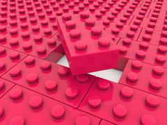 Toy bricks in red color - stock illustration