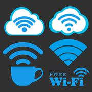 Internet cafe free wifi vector icons set. - stock illustration
